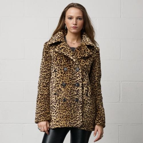 Denim & Supply Leopard-Print Pea Coat