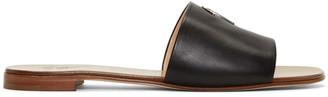 Giuseppe Zanotti Black Leather Logo Sandals $495 thestylecure.com