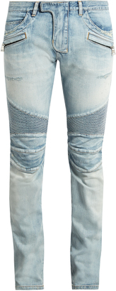 BALMAIN Biker slim-leg distressed jeans $1,161 thestylecure.com