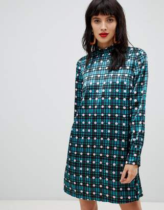 Pieces high neck check polka dot shift mini dress in blue