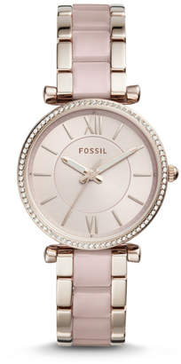 Fossil Carlie Three-Hand Two-Tone Acetate and Stainless Steel Watch