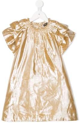 Velveteen ruffled layer sleeve dress