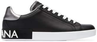Dolce & Gabbana black and silver metallic portofino logo leather sneakers