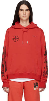 Off-White Off White Red Slim Stencil Hoodie