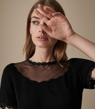 Reiss ASIA SHEER DETAIL TOP Black