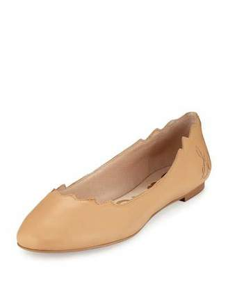 Sam Edelman Augusta Scalloped Leather Flat, Cool Sand $100 thestylecure.com