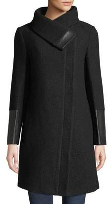 Club Monaco Eldise Leather-Trim Wool Coat
