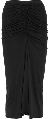 Rick Owens - Ruched Jersey Midi Skirt - Black $500 thestylecure.com