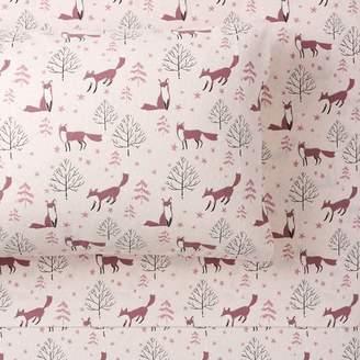 Pottery Barn Teen Winter Foxes Organic Flannel Sheet Set, Twin/Twin XL, Mauve Blush