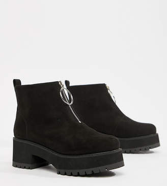 Asos Design DESIGN Wide Fit Brianna chunky zip boots
