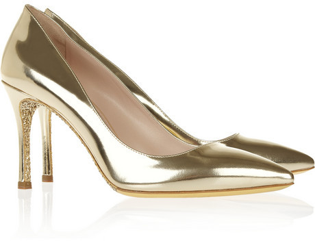 Miu Miu Glitter-soled mirrored leather pumps