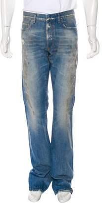 Christian Dior Distressed Straight-Leg Jeans