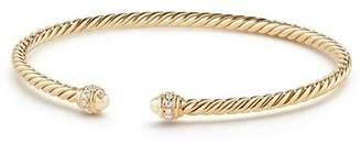 David Yurman Cable Spira Bracelet in 18K Gold with Diamonds