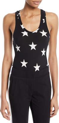 Norma Kamali Star-Print Racerback Bodysuit