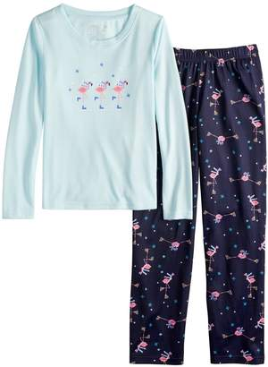 Flamingos Girls 7-16 Jammies For Your Families Skating Top & Bottoms Pajama Set