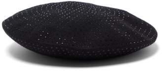Saint Laurent Crystal Embellished Felted Wool Beret - Womens - Black