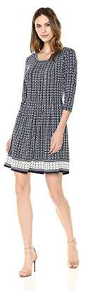 Lark & Ro Women's Jersey Three Quarter Sleeve Pleated Dress