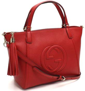 Gucci G U C C I Soho Interlocking GG Leather Top-Handle Shoulder Bag 369176
