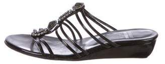 Stuart Weitzman Patent Leather Slide Wedges