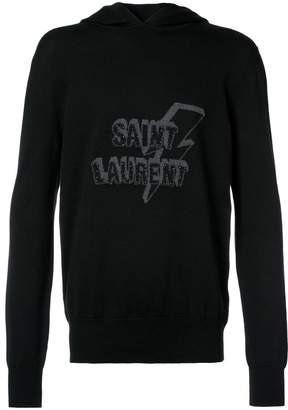 Saint Laurent lightning print logo hoodie
