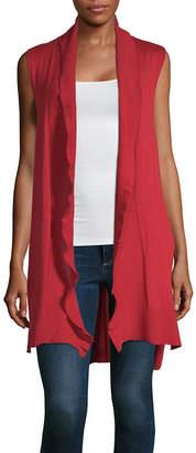 Liz Claiborne Womens Sleeveless Open Front Cardigan