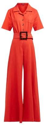 STAUD Zissou Wide Leg Linen Blend Jumpsuit - Womens - Red