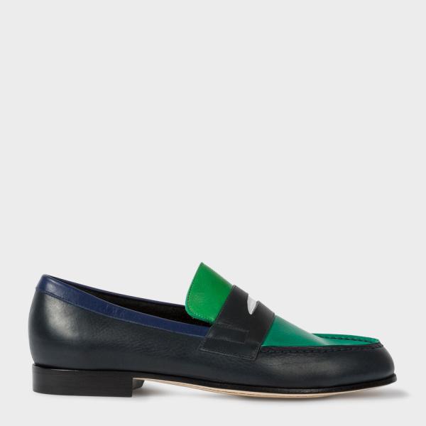 Paul SmithMen's Navy And Green 'Leonard' Penny Loafers