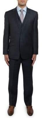 English Laundry Slim Fit Tonal Plaid Three-Piece Suit