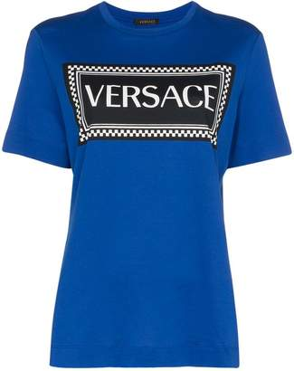Versace checkered logo print cotton t-shirt