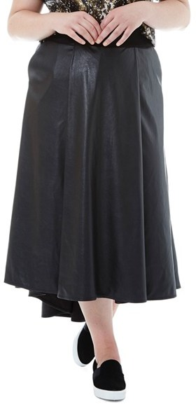 Black faux leather skirt size 16 | Global trend skirt blog
