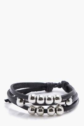 boohoo Black Leather Bracelet With Beads
