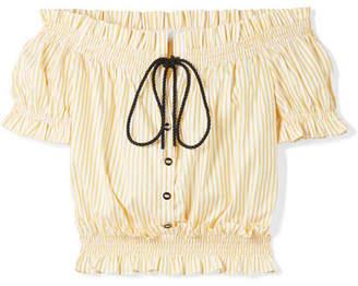 Caroline Constas Off-the-shoulder Striped Cotton-poplin Top