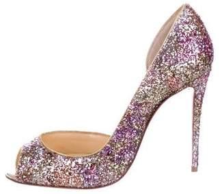 Christian Louboutin Glitter Peep-Toe Heels