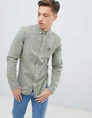 Lyle & Scott Slim Fit Buttondown Gingham Check Shirt With Stretch In Green