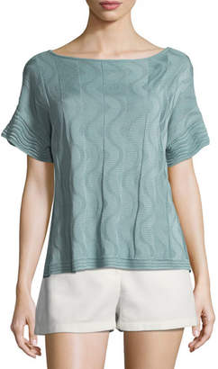 M Missoni Solid Knit Short-Sleeve Top