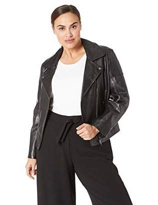 Excelled Women's Plus Size Leather Updated M/C Jacket