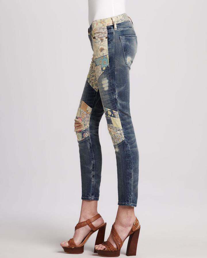 Current/Elliott The Moto Patchwork Jeans