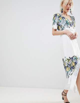 Free People Jaimie Floral Print Midi Wrap Dress