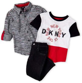DKNY Toddler Boys) 3-Piece Stripe Logo Shirt & Tapered Jeans Set