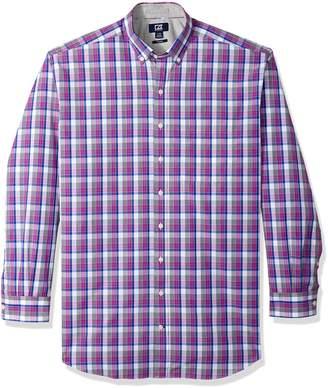 Cutter & Buck Men's Large Plaid Easy Care Button Down Short Sleeve Shirts, Nautical Zachary, XX