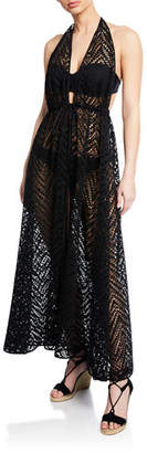 Milly Katrina Plunging Halter Coverup Maxi Dress