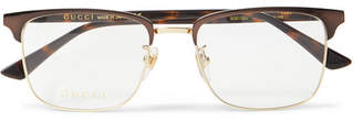 Gucci Square-Frame Tortoiseshell Acetate and Gold-Tone Optical Glasses - Men - Brown