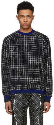 Haider Ackermann Black and White Silk Anatase Check Sweatshirt