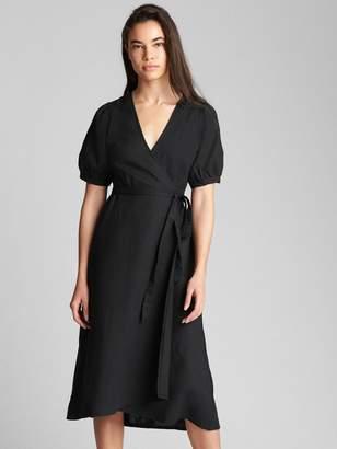 Gap Wrap Midi Dress in Linen-Cotton