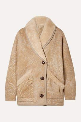 Isabel Marant Audrina Oversized Painted Shearling Jacket - Beige