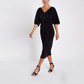 River Island Black plisse kimono sleeve dress
