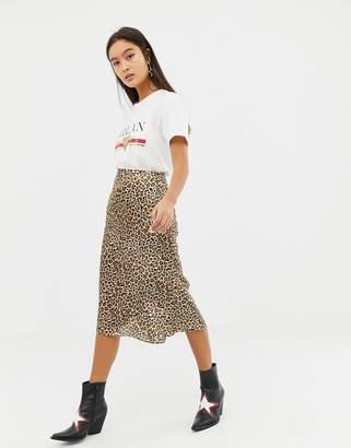 Glamorous satin midi skirt in leopard print