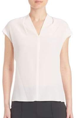 Escada Women's Silk Cap-Sleeve Blouse - Off White - Size 44 (14)