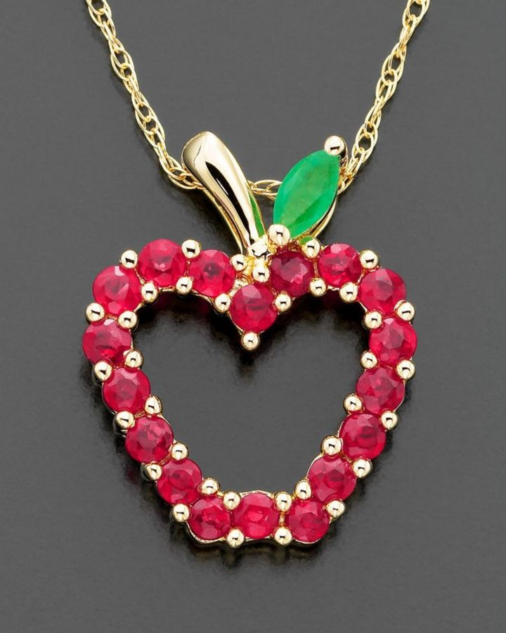 14k Gold Ruby Apple Pendant