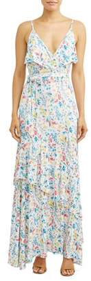 Sofia Jeans by Sofia Vergara Faux Wrap Front Maxi Dress Women's (Floral Print)